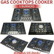 Black 30 34 5 Burners Built In Stove Ng Lpg Gas Cooktops Hobs Stainless Steel