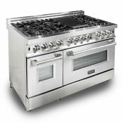 Zline 48 Professional 7 Burner Oven Range W Cast Iron Grill Stainless Steel
