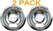 2 Pack Whirlpool Stove Range Cooktop 6 Burner Chrome Drip Pan Bowl 19950015