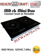 True Induction Md 2b Mini Duo Double Burner Counter Inset Or Portable 110vac