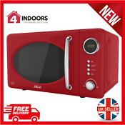 Akai A24006r Digital Led 700w 20l Gloss Red Solo Microwave Oven Brand New