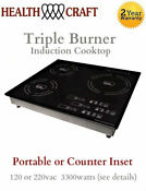 Triple Burner Induction Cooktop Counter Inset Or Portable 120 Or 220vac