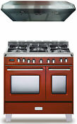 Verona Classic Vclfsge365dr 36 Pro Style Dual Fuel Gas Range Oven 2pc Package