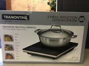 Tramontina 3 Pc Set Induction Cooktop Cooking System 4 Quart Covered Pan New