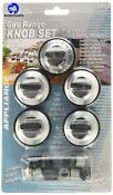 Rkg Gas Range Knob Set Replacement Black With Silver Overlay 5 Pack 9 1x5 3x1 3