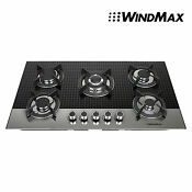 35 5 Gas Black Checked Glass Cooktop Stove Cook Top Heavy Duty Cast Iron Usa
