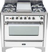 Ilve Um90fdmpbx Majestic Series 36 Pro Dual Fuel Range Oven Griddle True White