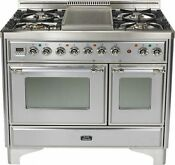 Ilve Umd100fdmpix 40 Majestic Dual Fuel Gas Range Double Oven Stainless Steel
