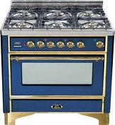 Ilve Um906dmpbl Majestic 36 Dual Fuel Range 6 Burner Midnight Blue Brass Trim