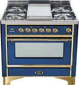 Ilve Um90fdvggbl Majestic Series 36 Gas Range Oven 4 Burners With Griddle