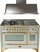 Ilve Um120sdmpi 48 Dual Fuel Range French Top Double Oven Hood Kitchen Package