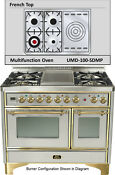 Ilve Umd100sdmpi 40 Majestic Pro Dual Fuel Gas Range Double Oven French Top