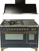 Ilve Um120sdmpmy 48 Dual Fuel Range French Top Double Oven Hood Kitchen Package