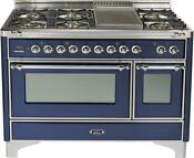 Ilve Um120fdmpblx Majestic 48 Dual Fuel Gas Range Double Oven Midnight Blue