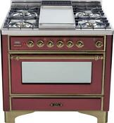 Ilve Um90fdmprby Majestic Series 36 Dual Fuel Range Convection Oven Oil Bronze