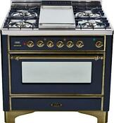 Ilve Um90fdmpny Majestic 36 Dual Fuel Range Oven Gloss Black Oil Bronze Trim