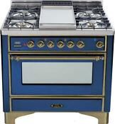 Ilve Um90fdvggbly Majestic Series 36 Gas Range Oven 4 Burners With Griddle
