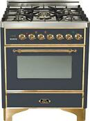 Ilve Um76dvggm Majestic Pro 30 Single Oven Gas Range Convection Brass Trim