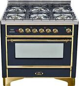 Ilve Um906dmpn Majestic 36 Dual Fuel Range 6 Burner Gloss Black Brass Trim