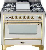 Ilve Um90fdvggi Majestic Series Pro 36 Gas Range Oven Griddle Stainless Steel