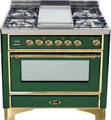 Ilve Um90fdmpvs Majestic Series 36 Dual Fuel Range Convection Oven Brass Trim