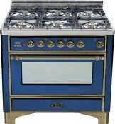 Ilve Um906dmpbly Majestic Pro 36 Dual Fuel Range Single Oven 6 Burner