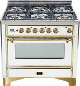 Ilve Um906dmpb Majestic Series 36 Pro Dual Fuel Range 6 Burner True White Brass