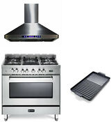 Verona 36 Pro Style Dual Fuel Gas Range Single Oven Hood Griddle 3 Pc Package