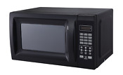 Small 700w Microwave Low Profile Compact Countertop Black College Dorm Oven Top