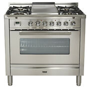 Ilve Upw90fdmpi Pro Series 36 Dual Fuel Range Oven Griddle Stainless Steel