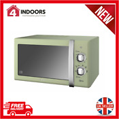Swan Sm22130gn 800w Retro Manual Dial Microwave 20 Litre Green Brand New