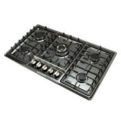 Black 34 Titanium Stainless Steel Built In 5 Burner Cooktops Stoves Gas Hob