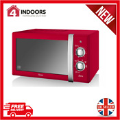 Swan Sm22130rn 800w 20l Retro Manual Microwave In Red Brand New