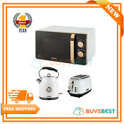 Tower Solo 20l Microwave 1 7l Kettle 2 Slice Toaster In White Rose Gold