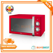 Swan 20l Retro Manual Microwave 800w With 6 Power Levels In Red Sm22130rn