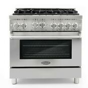 Commercial Style 36 In 4 5 Cu Ft Gas Range With 6 Italian Burners