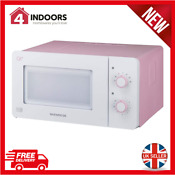 Daewoo Qt3r 14l Compact Manual Microwave 600w In Pink And White Brand New
