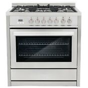 Commercial Style 36 In 3 8 Cu Ft Single Oven Dual Fuel Range With 8 Function