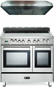 Verona Vefsee365dss 36 Electric Double Oven Range Stainless Steel Hood Package