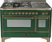 Ilve Um120sdmpvsy 48 Pro Dual Fuel Range French Top Double Oven Emerald Green
