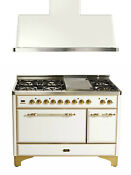 Ilve Majestic 48 Dual Fuel Gas Range Double Oven Solid Door Griddle With Hood