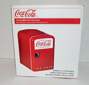Coca Cola Retro Mini Refrigerator Personal Fridge Rv Boat Camping With Box