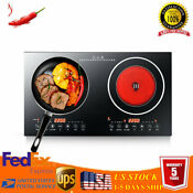 Dual Induction 8 Levels Cooker Countertop Double Burner Cooktop Multiple Cooking