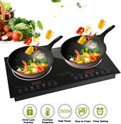 Trighteach Induction Cooktop 2400w Double Countertop Burner 2 Separate Heating
