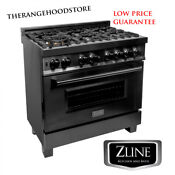 New Pro Zline 36 Black Stainless 6 Gas Burner Electric Oven Range Rab 36