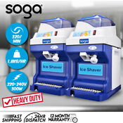 Soga 2x Ice Shaver Commercial Electric Stainless Steel Crusher Machine 180kg H