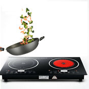 Black 2200w 110v Kitchen Double Induction Cooker Machine W Touch Type Keys Us
