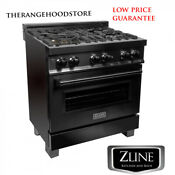 New Pro Zline 30 Black Stainless 4 Gas Burner Electric Oven Range Rab 30