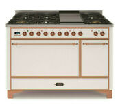 Ilve Umc120fdmpbr 48 Dual Fuel Gas Range Double Oven Copper Trim Reduced Price