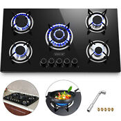 36 Gas Cooktop Gas Hob Tempered Glass 5 Burners Electric Ignite Built In Stove